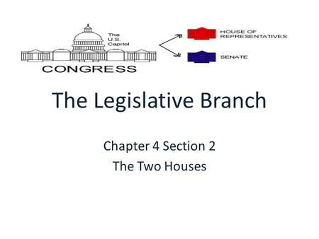 The Legislative Branch Chapter 4 Section 2 The Two Houses.