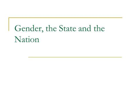 Gender, the State and the Nation. The state, the nation and the international system The nation – refers to a sense of national identity. Nations and.