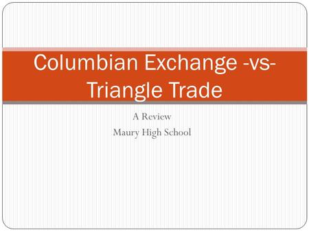A Review Maury High School Columbian Exchange -vs- Triangle Trade.
