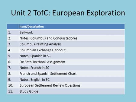 Unit 2 TofC: European Exploration Item/Description 1.Bellwork 2.Notes: Columbus and Conquistadores 3.Columbus Painting Analysis 4.Columbian Exchange Handout.