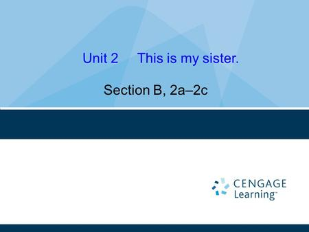 Section B, 2a–2c Unit 2 This is my sister.. Learning Objectives 1. 学会区分英文名的性别。 2. 进一步巩固并熟练掌握人物称谓。 3. 能根据图片和描述,理解短文。
