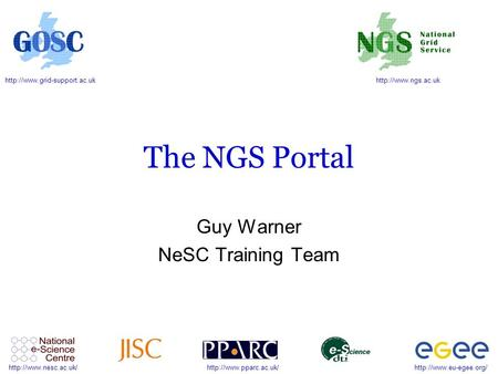 The NGS Portal Guy Warner NeSC Training.