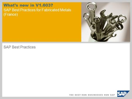 What's new in V1.603? SAP Best Practices for Fabricated Metals (France) SAP Best Practices.