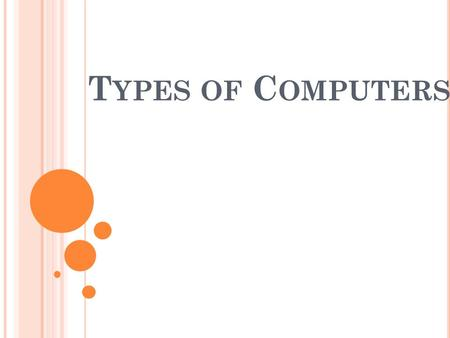 T YPES OF C OMPUTERS. C OMPUTER C ATEGORIES There are many types of computers, but four main categories: 1. Supercomputers - are the most powerful, fastest,