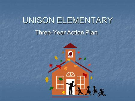 UNISON ELEMENTARY Three-Year Action Plan. FOCUS AREA #1 To increase student achievement on standardized assessment measures by 5% each year over the three.