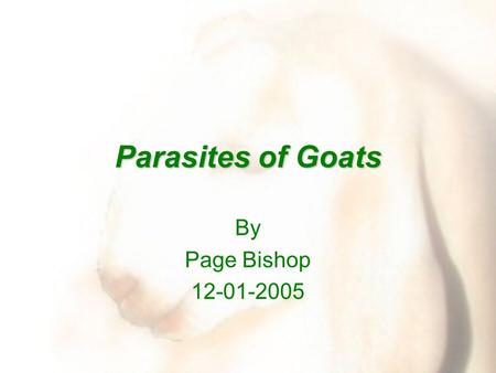 Parasites of Goats By Page Bishop 12-01-2005. Parasites It is important to realize that each region of the country will have different parasite problems.
