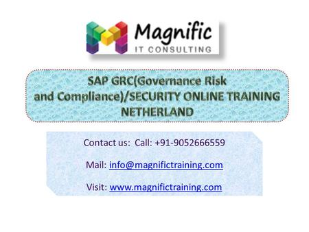 SAP GRC(Governance Risk and Compliance)/SECURITY ONLINE TRAINING  Magnific Name : SAP GRC/SECURITY 24*7 Technical support  faculty : Real time Experience.