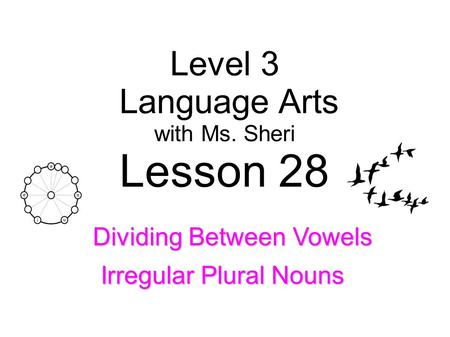 Level 3 Language Arts with Ms. Sheri Lesson 28 Irregular Plural Nouns Dividing Between Vowels.