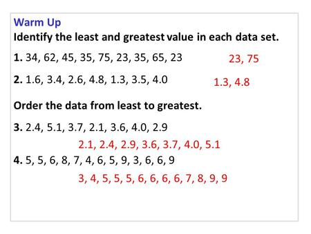 Warm Up Identify the least and greatest value in each data set. 1. 34, 62, 45, 35, 75, 23, 35, 65, 23 2. 1.6, 3.4, 2.6, 4.8, 1.3, 3.5, 4.0 Order the data.