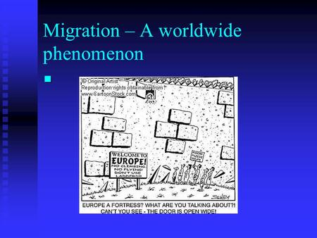 Migration – A worldwide phenomenon. Cedar Rapids – Typical of USA average East Lansing – Michigan State University.