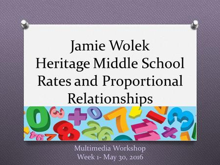 Multimedia Workshop Week 1- May 30, 2016 Jamie Wolek Heritage Middle School Rates and Proportional Relationships.