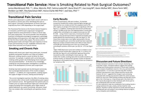 Transitional Pain Service: How is Smoking Related to Post-Surgical Outcomes? Transitional Pain Service Chronic post-surgical pain is a public health concern.