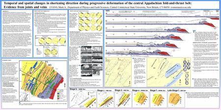 A Temporal and spatial changes in shortening direction during progressive deformation of the central Appalachian fold-and-thrust belt: Evidence from joints.