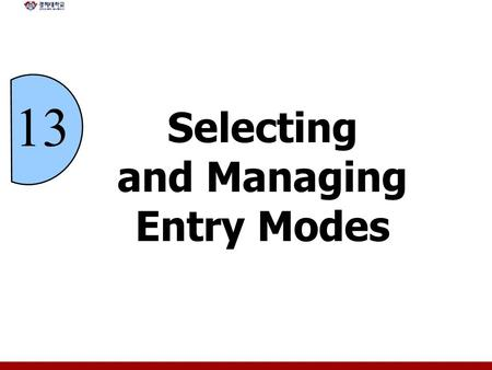 13 Selecting and Managing Entry Modes. 13 - 2 Chapter Objectives Explain how companies use exporting, importing, and countertrade Explain the various.