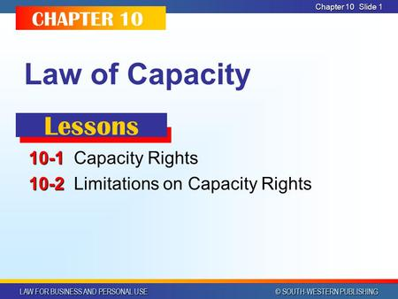 LAW FOR BUSINESS AND PERSONAL USE © SOUTH-WESTERN PUBLISHING Chapter 10 Slide 1 Law of Capacity 10-1 10-1Capacity Rights 10-2 10-2Limitations on Capacity.