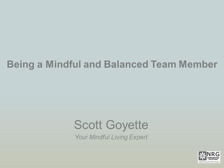 Being a Mindful and Balanced Team Member Scott Goyette Your Mindful Living Expert.