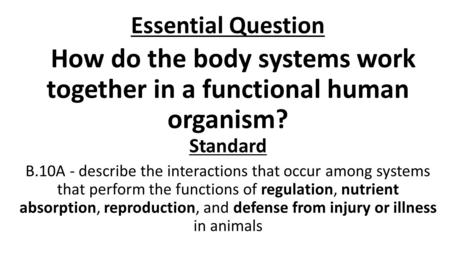 Essential Question How do the body systems work together in a functional human organism? Standard B.10A - describe the interactions that occur among systems.