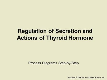 Regulation of Secretion and Actions of Thyroid Hormone Process Diagrams Step-by-Step Copyright © 2007 by John Wiley & Sons, Inc.