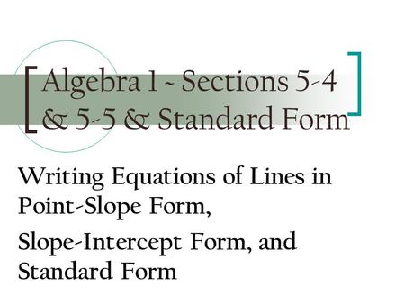 Writing Equations Of Lines Standard Form Custom Paper Academic Service