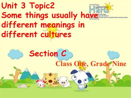Unit 3 Topic2 Some things usually have different meanings in different cultures Section C Class One, Grade Nine.