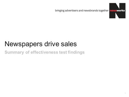 Newspapers drive sales 1 Summary of effectiveness test findings.