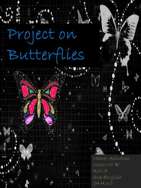 Project on Butterflies Name- Ashutosh Class-VII 'B' Roll-7 Sub-English (H.H.W) `