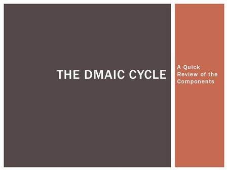 A Quick Review of the Components THE DMAIC CYCLE.