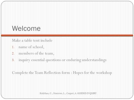 Welcome Make a table tent include 1. name of school, 2. members of the team, 3. inquiry essential questions or enduring understandings Complete the Team.
