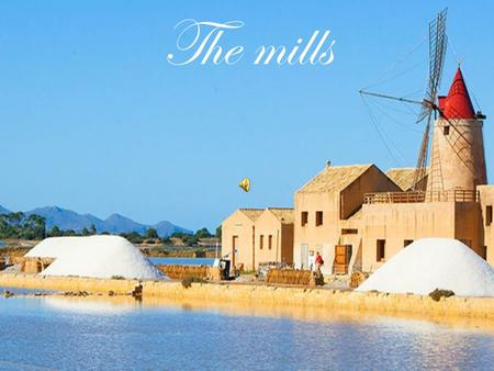 The mills. Via del sale The mills are a feature of Trapani. In fact, we can find many mills in the path that goes from Trapani to Marsala is called