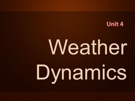 Weather Dynamics. 1 – Intro to Meteorology 2 – Sun's Solar Energy 3 – Heat Transfer 4 – Water Cycle 5 – Seasons 6 – World Wide Currents 7 – Weather 8.