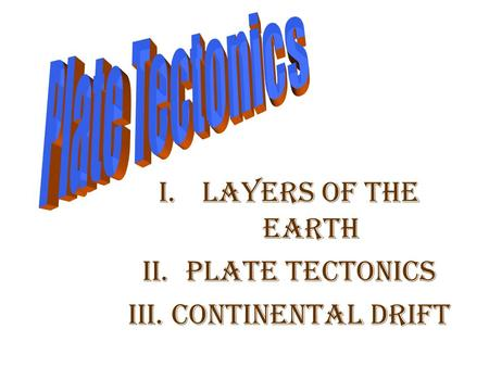 I.Layers of the Earth II.Plate Tectonics III.Continental Drift.