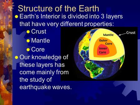 Structure of the Earth  Earth's Interior is divided into 3 layers that have very different properties:  Crust  Mantle  Core  Our knowledge of these.
