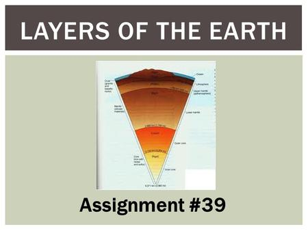 LAYERS OF THE EARTH Assignment #39.  How are the earth's layers similar to an egg?  Shell = crust  Layers (yolk,egg white)  Limitations? EARTH'S LAYERS.