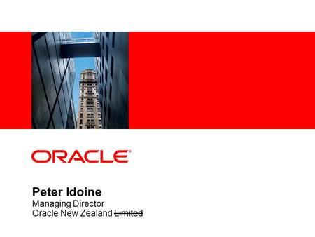 Peter Idoine Managing Director Oracle New Zealand Limited.