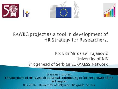 Prof. dr Miroslav Trajanović University of Niš Bridgehead of Serbian EURAXESS Network Erasmus+ project Enhancement of HE research potential contributing.