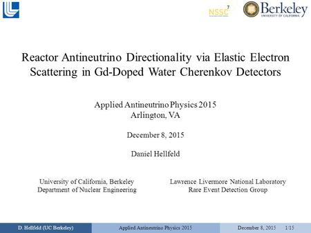 Reactor Antineutrino Directionality via Elastic Electron Scattering in Gd-Doped Water Cherenkov Detectors Applied Antineutrino Physics 2015 Arlington,