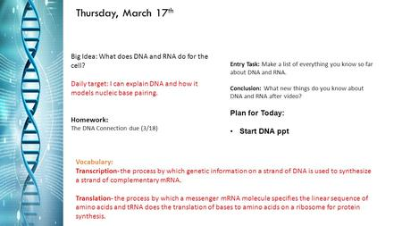 Thursday, March 17 th Big Idea: What does DNA and RNA do for the cell? Daily target: I can explain DNA and how it models nucleic base pairing. Homework:
