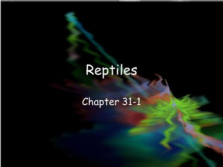 Reptiles Chapter 31-1. What is a Reptile? Vertebrate Dry, scaly skin Lungs Terrestrial eggs with several membranes.