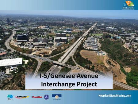 I-5/Genesee Avenue Interchange Project. Project Purpose Improve east and west traffic flow on Genesee Ave. Enhance access to and from I-5 Replace and.