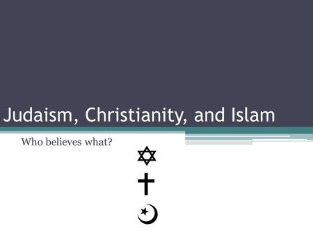 Who believes what? Judaism, Christianity, and Islam.