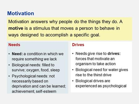 Motivation answers why people do the things they do. A motive is a stimulus that moves a person to behave in ways designed to accomplish a specific goal.