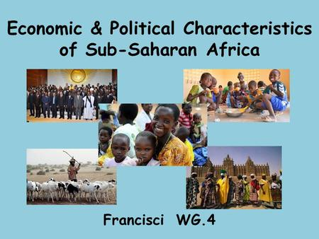 Economic & Political Characteristics of Sub-Saharan Africa Francisci WG.4.