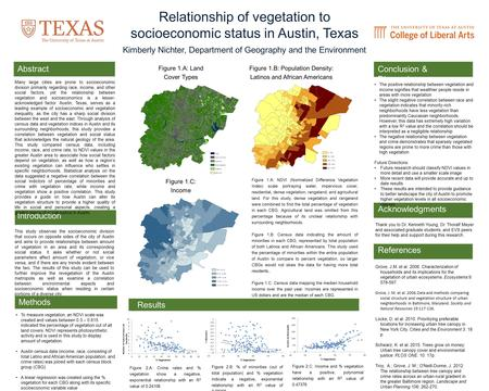 Relationship of vegetation to socioeconomic status in Austin, Texas Kimberly Nichter, Department of Geography and the Environment This study observes the.