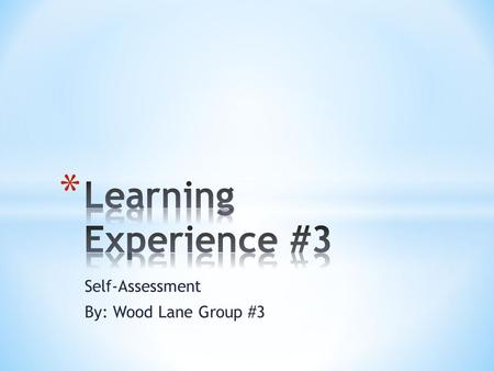 Self-Assessment By: Wood Lane Group #3. * To enable participants to discover their strengths & care giving gifts * To enable participants to identify.