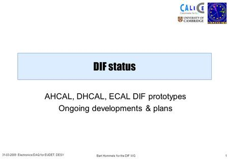 Bart Hommels for the DIF WG1 31-03-2009 Electronics/DAQ for EUDET, DESY DIF status AHCAL, DHCAL, ECAL DIF prototypes Ongoing developments & plans.
