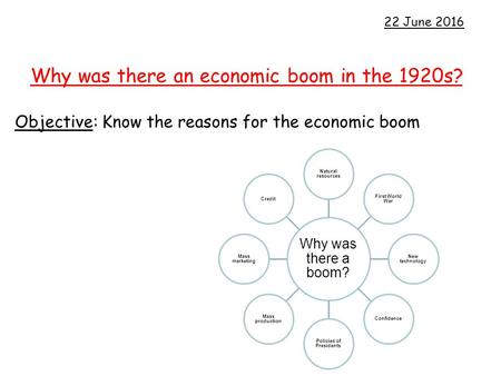 Why was there an economic boom in the 1920s?