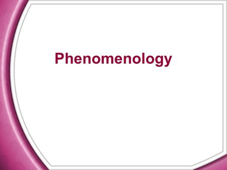 Phenomenology. Phenomenological method  The process of learning and constructing the meaning of human experiences  To understand the meaning of the.