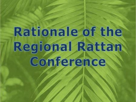 " 4-year project  ""Demonstration and Application of Production and Utilization Technologies for Rattan Sustainable Development in the ASEAN Member Countries"""