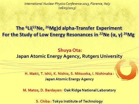 Shuya Ota: Japan Atomic Energy Agency, Rutgers University H. Makii, T. Ishii, K. Nishio, S. Mitsuoka, I. Nishinaka : Japan Atomic Energy Agency M. Matos,