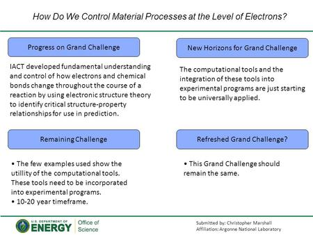 How Do We Control Material Processes at the Level of Electrons? Progress on Grand Challenge New Horizons for Grand Challenge Remaining ChallengeRefreshed.